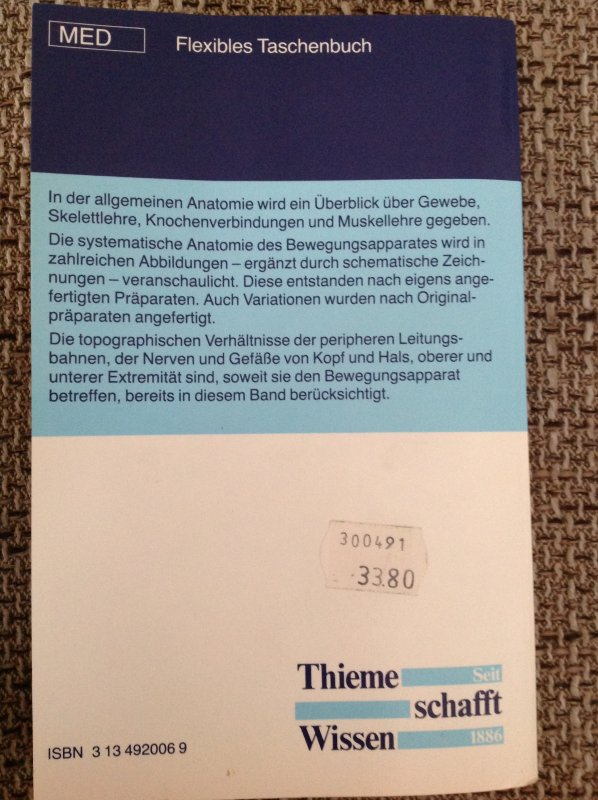 Taschenatlas der Anatomie. Band 1: Bewegungsapparat von Werner Kahle ...