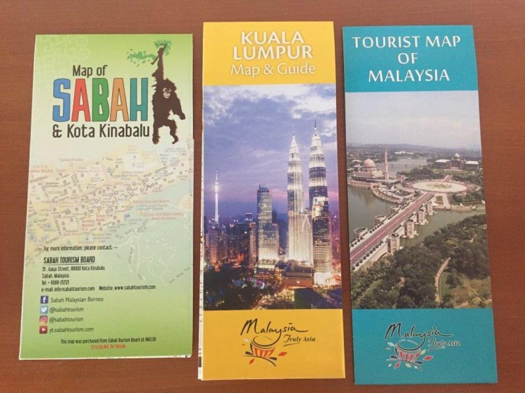 3 Faltkarten Malaysiasabah Kota Kinabalukuala Lumpur Neu