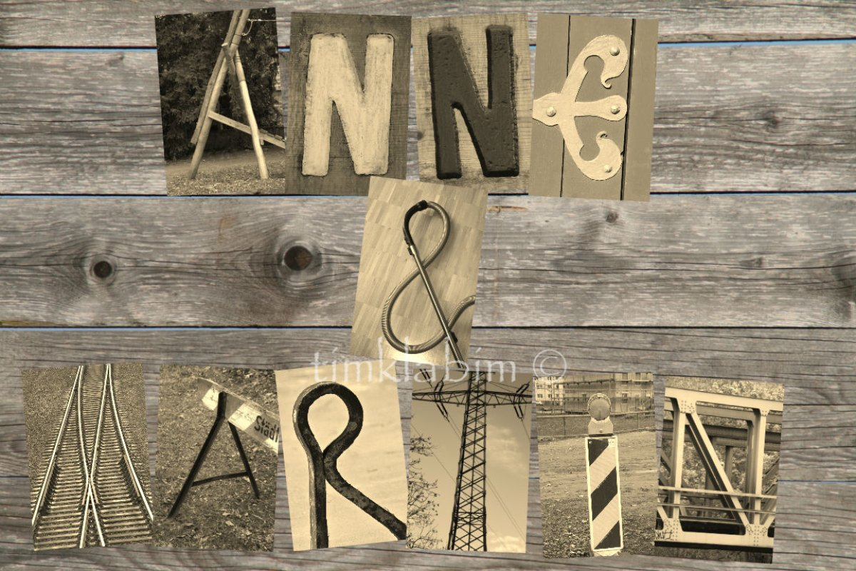 Buchstaben-Bilder, Namen aus Fotos, hier: Anne & Martin tauschen ...